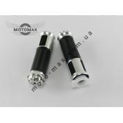 Ручки газа резиновые цветные в металле MODISH серебристые (пара)
