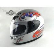 Шлем №303 с подбородком серебристый глянцевый с рисунком
