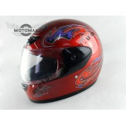 Шлем №303 с подбородком красный глянцевый с рисунком