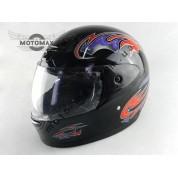 Шлем №303 с подбородком черный глянцевый с рисунком