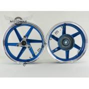 Диск Honda Dio Af-25/28/35 титановые, комплект передний+задний (синий)