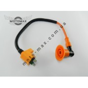 Катушка зажигания Honda Dio (оранжевая с оранжевым 2т насвечником)