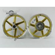 Диск Honda Dio Af-25/28/35 титановые, комплект передний+задний (золотистый)