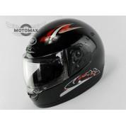 Шлем SAFE с подбородком, черный глянцевый с красным рисунком