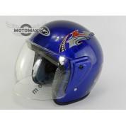Шлем JF без подбородка синий глянцевый