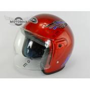 Шлем JF без подбородка красный глянцевый
