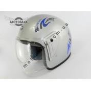 Шлем JF без подбородка серебристый глянцевый