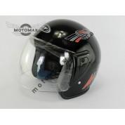 Шлем JF без подбородка черный глянцевый