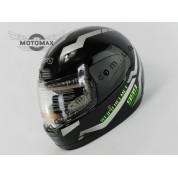 Шлем с подбородком WEIPU (с воротником) черный глянцевый №826