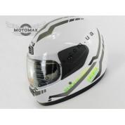 Шлем с подбородком WEIPU (с воротником) белый глянцевый №826