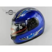Шлем с подбородком (с воротником) синий глянцевый