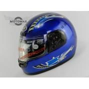 Шлем с подбородком CN-JM (с воротником) синий глянцевый