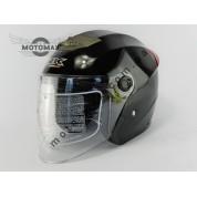 Шлем IBK без подбородка, с очками черный глянцевый