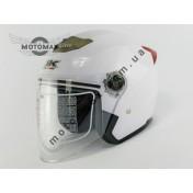 Шлем GN-CN без подбородка, с очками (белый глянцевый)
